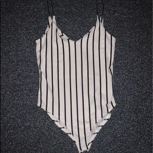 Black and White Striped Body Suit